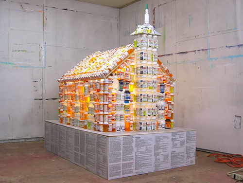 "House of Worship – prescription pill bottles, wood, wire, fluorescent lamp, printed paper, hot glue. 56x36x55"" 2014"