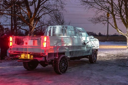 a Drivable Truck Made From Ice