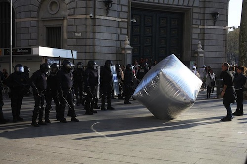 Photo: inflatable cobblestone during the General Strike in Barcelona 2012. © Oriana Eliçabe
