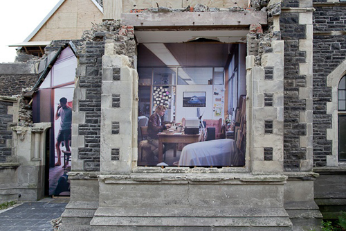»Homage To The Lost Spaces« (Government Life Building Studio Series), 2012, Varied (up to 5.0 x 2.4m), Mixed media on plywood (on building listed for imminent demolition)