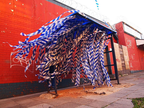 »blue blow«, medium: barrier tape (South Africa)