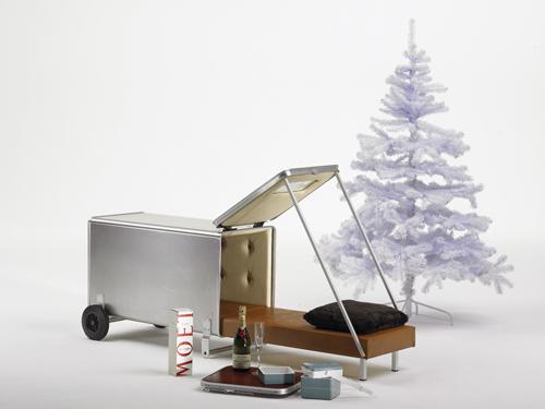 Wohnbehälter fahrbar mit Luxusausstattung Anscharnierter Deckel mit Randprofil und 2 Gurtbändern, Hebespannverschluss mit Zylinderschluss, Schiebegriffe aus eloxiertem Alu-Rohr, Stahlachse mit 2 gummibereiften Rädern